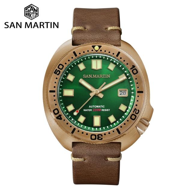 San Martin Abalone Bronze Taucher Uhren Männer Mechanische Uhr Leucht Wasserdicht 200M Lederband Stilvolle Uhren часы