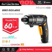DEKO destornillador eléctrico inalámbrico DCS3.6DU2, bricolaje, batería recargable para el hogar, destornillador con mango giratorio con luz LED