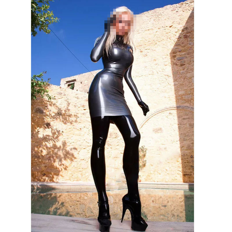 Latex Dress Women Summer Hot Latex Long Sleeve Dress Back Zip