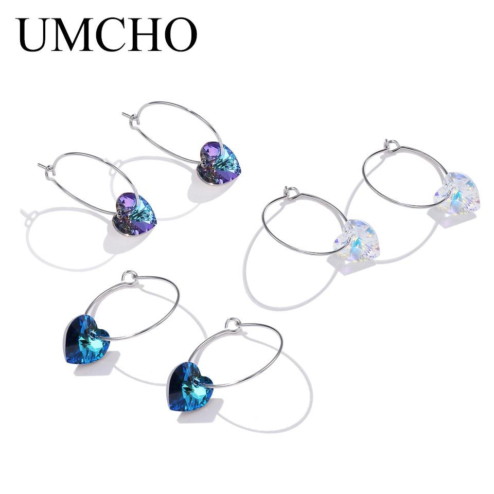 UMCHO Solid Silver 925 Prevent Allergy Simple  Jewelry Crystal Heart Shape Round Drop Earrings Eardrop For Women Fine Jewelry