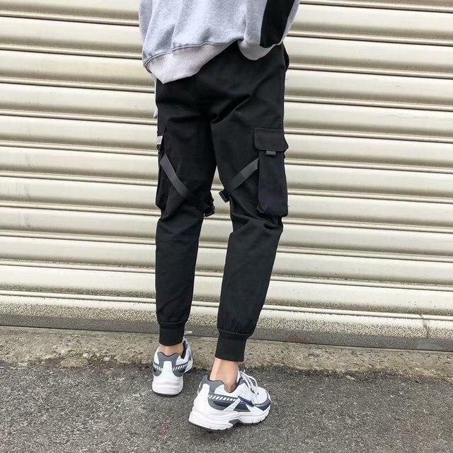 Fitas harem joggers calças de carga dos homens streetwear 2020 hip hop bolsos casuais calças faixa masculina harajuku moda 3