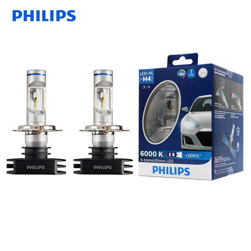 Philips Led H4 9003 X-Treme Ultinon Led Auto Koplamp Auto Hi Lo Beam 6000K Wit Originele Lampen + 200% Helderder 12953BWX2, paar