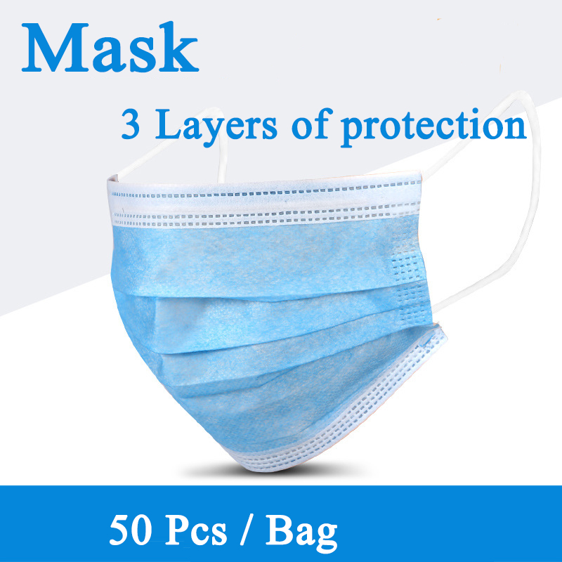1pcs Non Woven Disposable Face Mask 3 Layer Disposable Dust Filter Safety Elastic Facial Dust-Proof Safety Masks