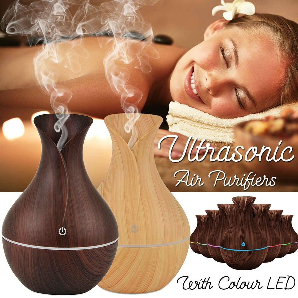 130ml Wood Ultrasonic Air Humidifier USB Electric Air Diffuser Humidifier Essential Oil Aromatherapy Air Cooling For Home Office