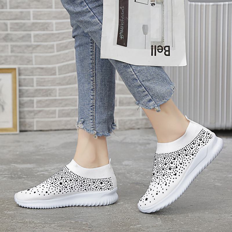 Big Size 42 43 Women's Ankle Shoes Flat Loafers Crystal Fashion Bling Sneakers Ladies Slip On Breathable Female Running Shoes