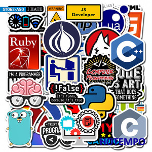 50pcs Programmer Internet Java Sticker Geek Php Docker Html Bitcoin Programming Language for Mobile Phone Laptop Decal Stickers