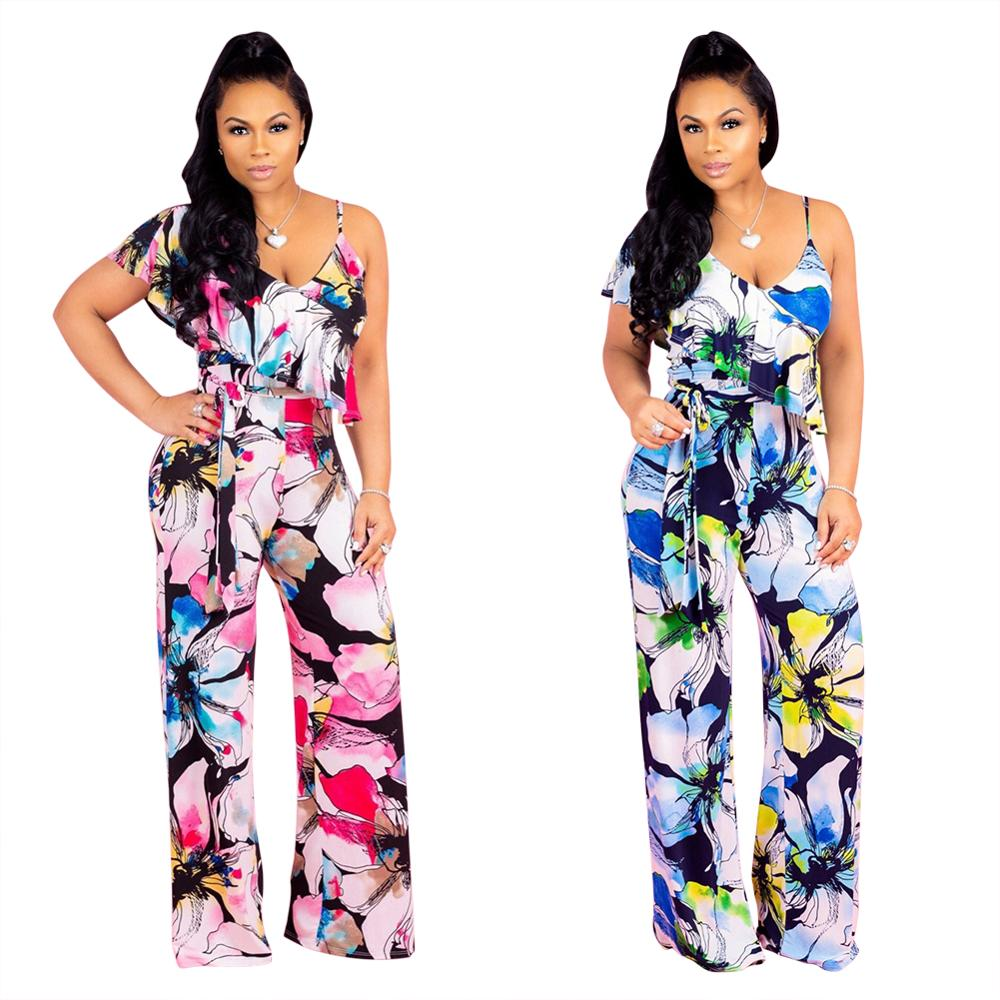 New casual one shoulder floral flower printed wide leg   jumpsuit   women