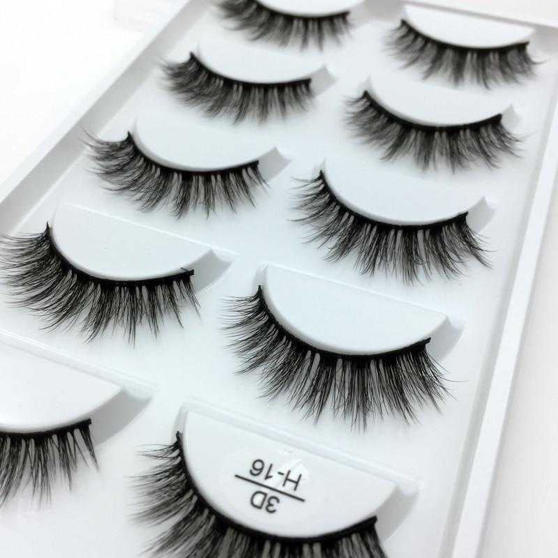 5 Pairs Multipack 3D Soft Mink Hair False Eyelashes Handmade Wispy Fluffy Long Lashes Nature Eye Makeup Tools Eye Lashes H16