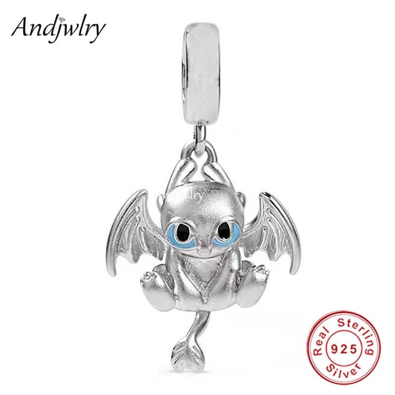 925 Sterling Silver Light Fury Dragon Dangle Charm Fit Pandora Charms Original Bracelet 925 Siver Bangle DIY Jewelry Berloque