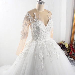 Image 5 - RSW1549 Robe De Mariee Illusion Back Buttones Flower Dress Princess Full Sleeves Wedding Gowns