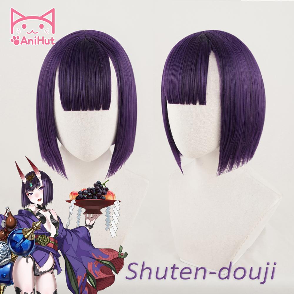 AniHut Shuten Douji Cosplay Wig Game  Fate Grand Order FGO Wig Synthetic Purple Women Hair Shuten Douji Cosplay
