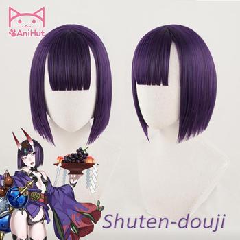 【Anihut】shuten Douji Cosplay Pruik Lot Grand Order Fgo Pruik Synthetische Paars Haar Shuten Douji