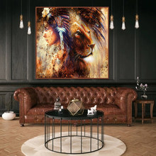 Abstract oil painting lion copy on canvas colorful art painting decoration and interior canvas art abstract animal pictures