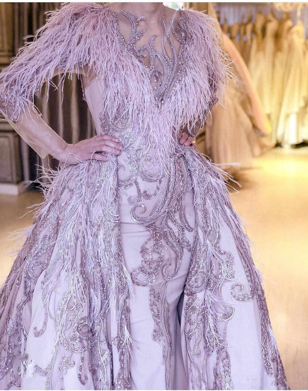 Вечернее платье лавандовой русалки со съемным шлейфом, вечернее платье с длинными рукавами и бусинами, торжественное платье с вышивкой, 2020