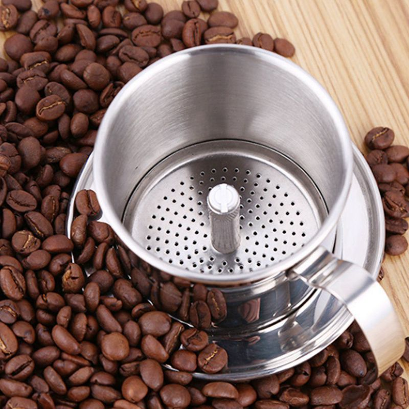 Coffee Percolator Stainless Steel Vietnamese Coffee Drip Filters Single Cup Coffee Drip Pot Brewer - Portable Paperless For Ho