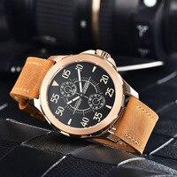 Parnis Automatic Watch Men 44mm Mechanical Wrist Watch Power Reserve Auto Date Leather часы мужские