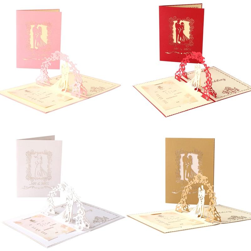 Hochzeit Einladungen 3D Laser Cut Pop up Karte Anpassbare Romantische Ehe Gruß 100 stücke Karten und 100 stücke Umschlag 4 farben-in Karten & Einladungen aus Heim und Garten bei  Gruppe 1