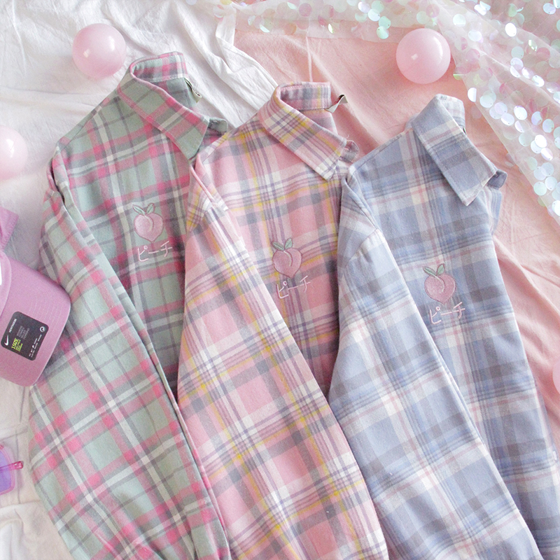 Women Small Fresh Peach Embroidery Shirts Japanese Contrast Color Multi-color Plaid Long Sleeve Blouse Wild Girls Student Tops