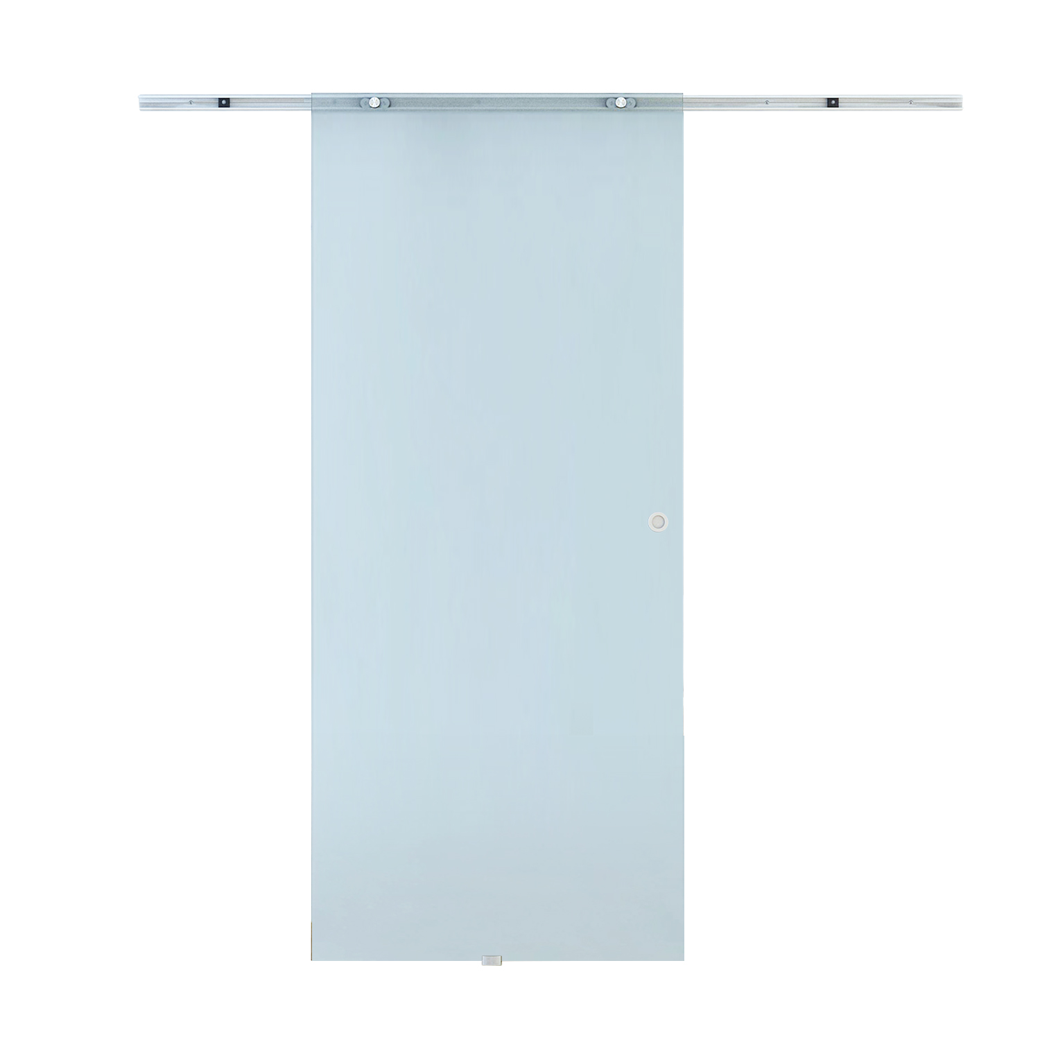 HOMCOM Sliding Door Interior Frosted Glass With Aluminum Rail 90 × 205 × 0.8cm