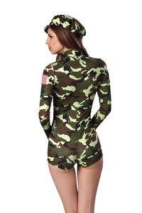 Image 3 - Sexy delle donne Army Military Air Force Pilota di Volo Camouflage Tuta Costume Chiusura Anteriore Catsuit Tuta Uniforme Per La Signora