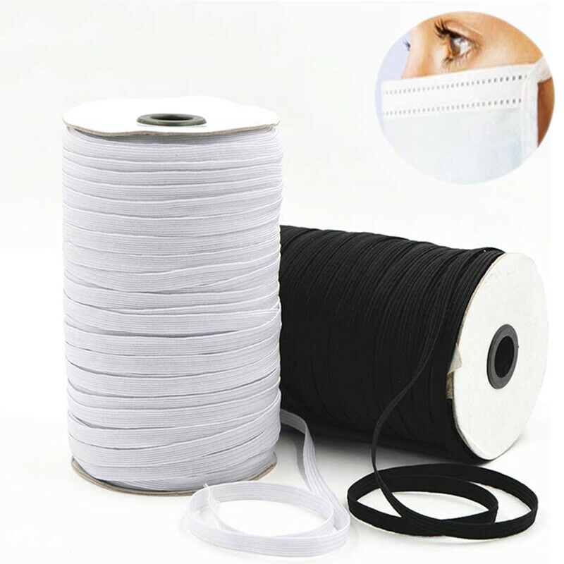 Black or White Fabrics Rubber Cord Great Fabric Bands Stretch Rope 5mm Wide Elastic Bands for Sewing 1//4 Inch Braided 10 Yards