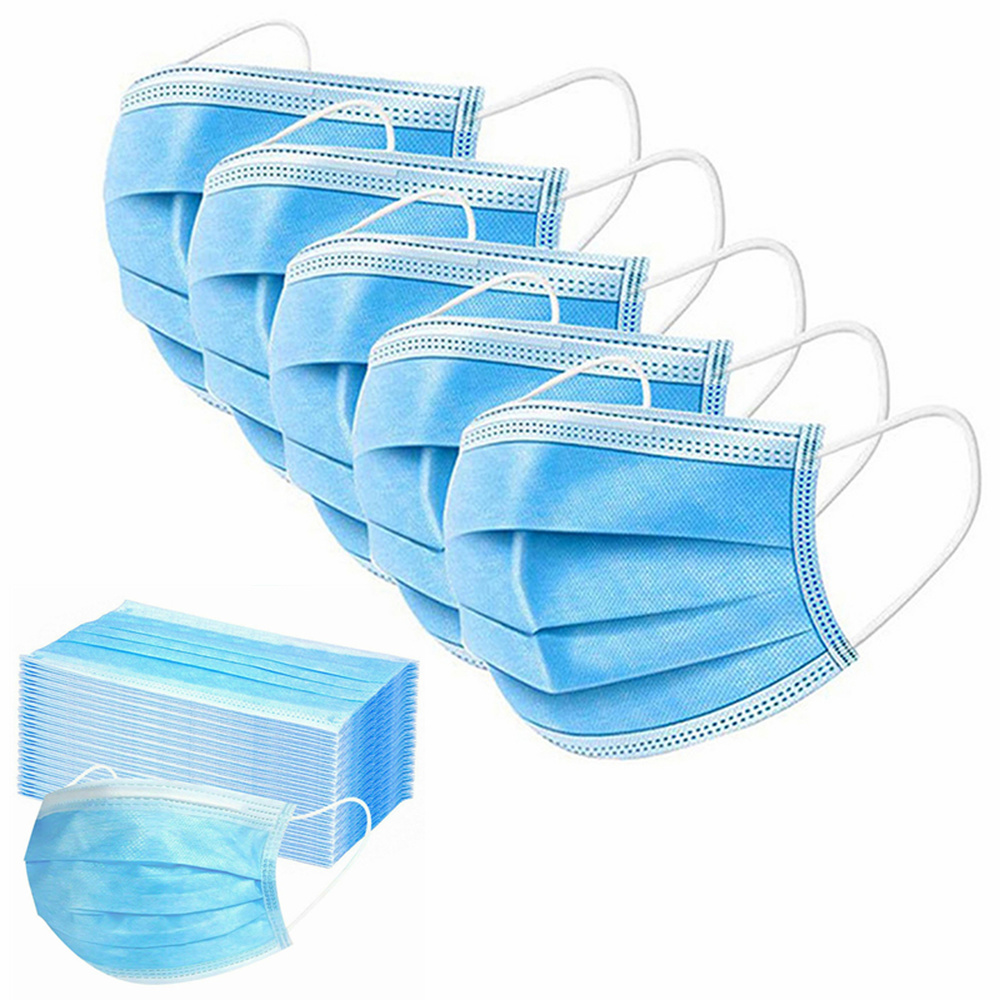 QWER 25/50/100/200pc Disposable Face Masks 3 Layes Anti-Pollution Mask Dust Protection One Time Mount Mask Breathable Mouth Mask