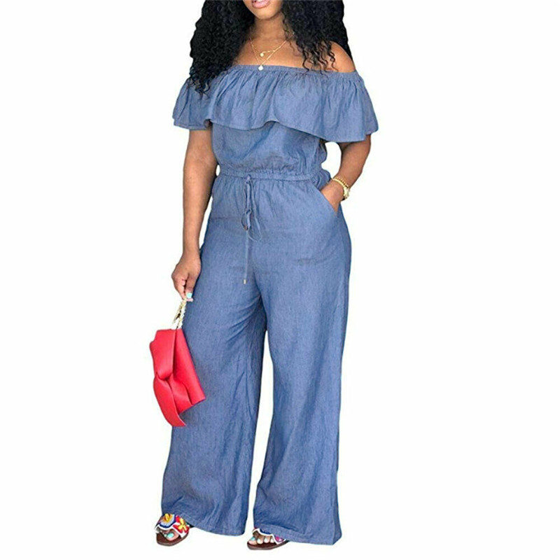 New Casual Women Bodycon Jumpsuit Jeans Denim Rompers Ladies Autumn Casual Back Zipper Ruffle Jumpsuits Overalls Trousers Pants