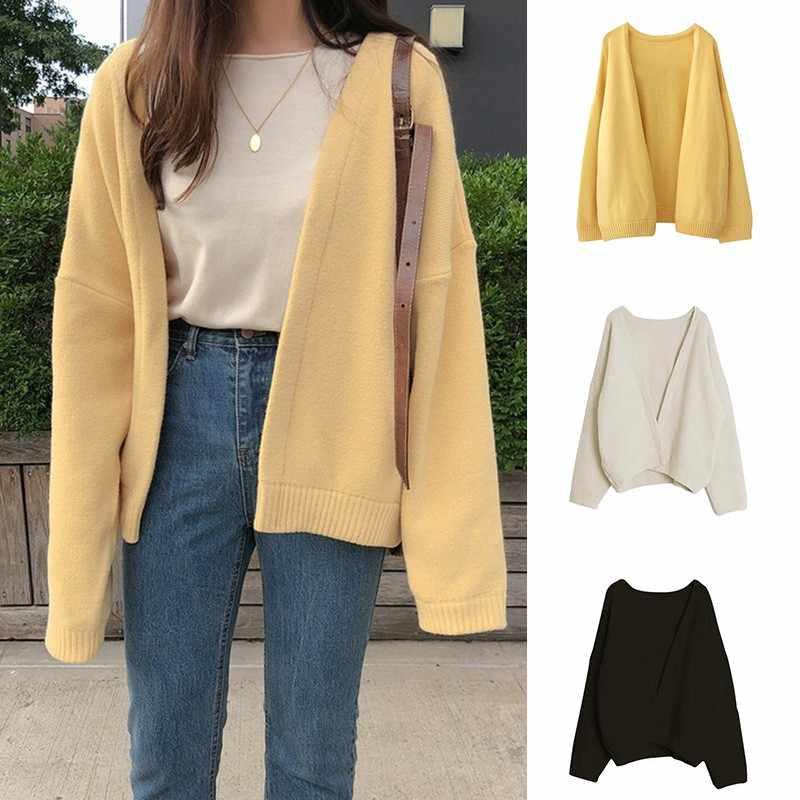 2019 새로운 가을 한국 캐주얼 뜨개질 스웨터 여성 코트 솔리드 컬러 니트 짧은 카디 건 긴 소매 달콤한 느슨한 스웨터