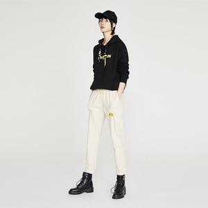 Image 3 - Toyouth moda bordado hoodies feminino outono manga longa carta impresso fatos de treino com capuz camisolas para mulheres topos