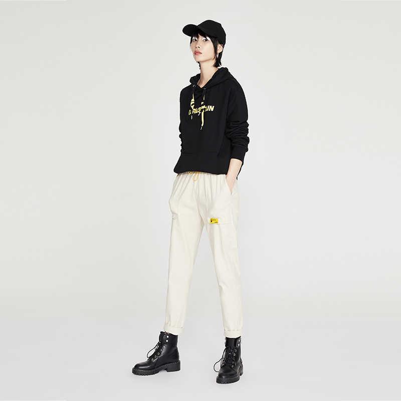 Toyouth تطريز أنيق هوديس الإناث الخريف طويلة الأكمام رسالة مطبوعة رياضية قمصان سويت شيرت بقلنسوة للنساء قمم