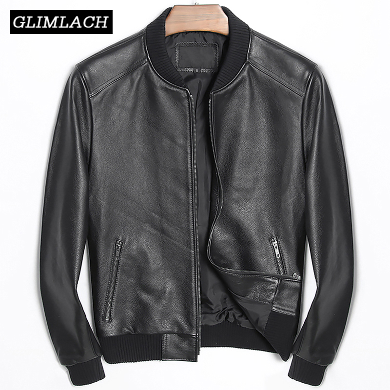 Large Size 4XL Cowhide Slim Aviation Genuine Leather Bomber Jacket Men Real Leather Flights Jacket Black Aviator Pilot Coats