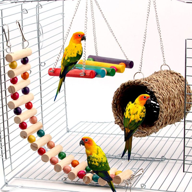 3Pcs Parrot Cage Toy Squirrel Hamster Squirrel Hammock Bird Nest Swing Ladder