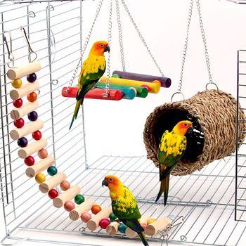 3Pcs Parrot Cage Toy Squirrel Hamster Squirrel Hammock Bird Nest Swing Ladder warm bird nest hammock parrot cockatiel hamster chinchilla cage sleeping bed 2 sizes n7