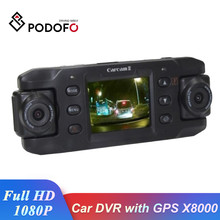 Podofo dvr Çift Lens Dash kamera araba dvr'ı GPS X8000 Video Kaydedici Kamera Full HD 1080P Registrator dashcam Otomatik dvr(China)