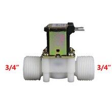 3/4 BSP Male Thread Electric Plastic Solenoid Valve 12V 24V 220V Normal Closed Inlet
