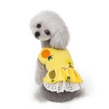 Модная новая одежда для собак, домашних животных, платье с принтом ананаса, рубашка, кружевная юбка для щенка, весенне-летняя одежда, платья