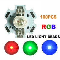 100pcs LED COB Chip RGB Lights With PCB Wholesale Beads Round Diodes Chip SMD DIY 3W Lights Chip High Power Red Green Blue