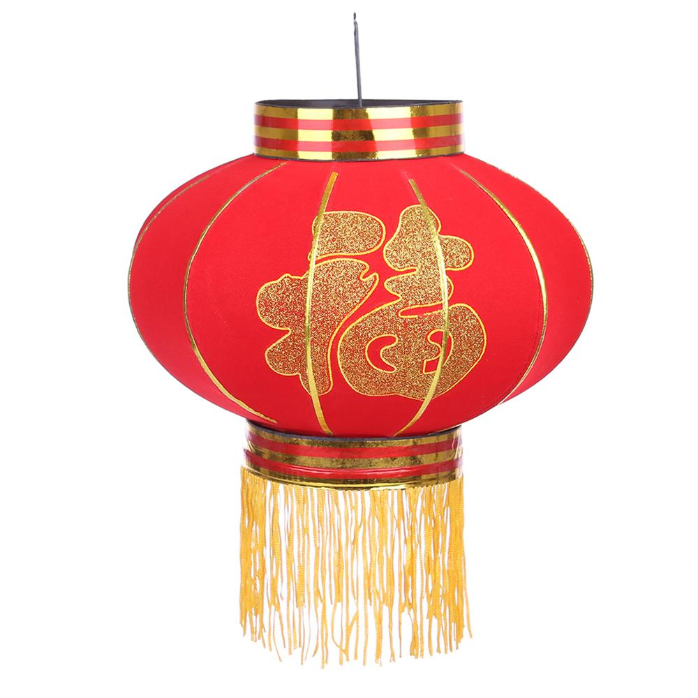 30cm Round Big Red Lantern Flocking Cloth Outdoor New Year Chinese Spring Festival Decoration Lantern - Fu