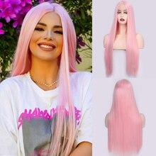 Ik Een Pruik Lange Rechte Synthetische Front Lace Pruik Roze Pruik Voor Vrouwen Midden Deel Rood Zwart Pruik Hoge temperatuur Vezel Haar
