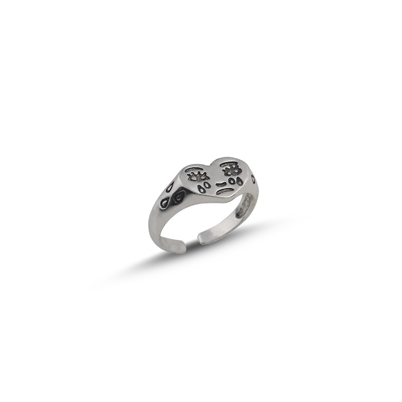 Korean Fashion Crying Heart Ring For Women Girls Trendy Vintage Silver Color Open Adjustable Ring Special Personality Jewelry 2