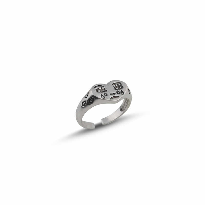 Koreański moda płacz pierścień z sercem dla kobiet dziewczyn Trendy Vintage kolor srebrny otwarty regulowany pierścień specjalna biżuteria podkreślająca osobowość