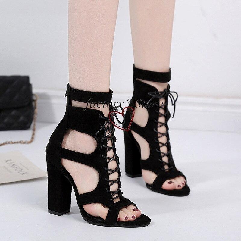Купить сандалии на высоком каблуке со шнуровкой в римском стиле пикантные