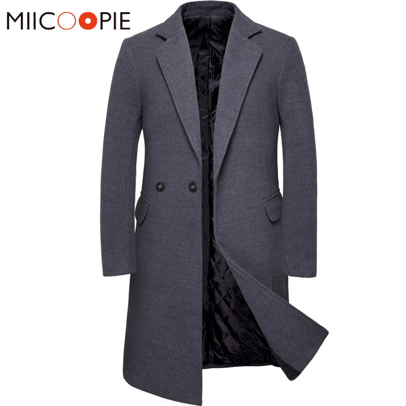 Winter Fashion Long   Trench   Coat Men Solid Color Slim Suit Collar Cashmere   Trench   Homme Victorian Men Steampunk Grey Windbreaker