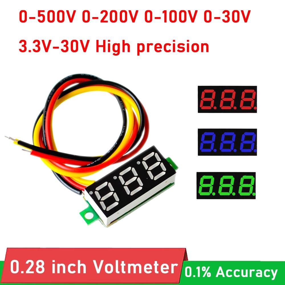 0,28 дюймовый мини цифровой светодиодный вольтметр постоянного тока 0-500 в 300 в 0-200 в 0-100 в 0-30 в вольтметр Панель монитор батареи 5 в 12 В постоянно...