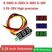 Mini voltmètre numérique de voiture, 0.28 pouces, tension 0-500V 300V 0-200V 0-100V 0-30V, moniteur de batterie, DC 5V 12V