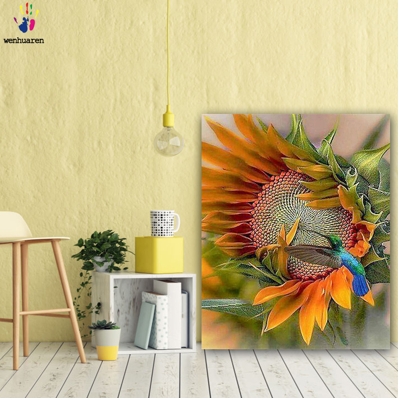DIY Colorings Pictures By Numbers With Colors The Bird On The Sunflower Picture Drawing Painting By Numbers Framed Home