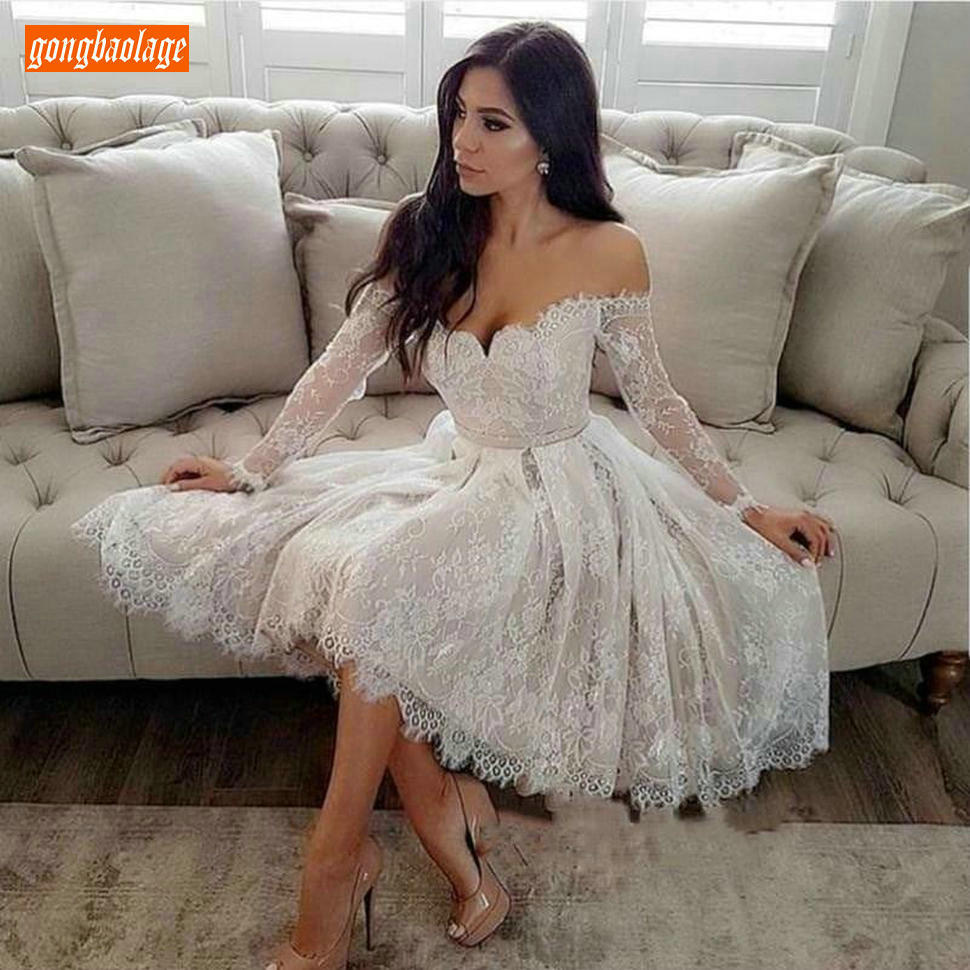 Romantic Ivory Lace Short Prom Gowns Long Sleeve Off Shoulder White Prom  Dresses 18 Appliqued Knee Length Cocktail Party Dress
