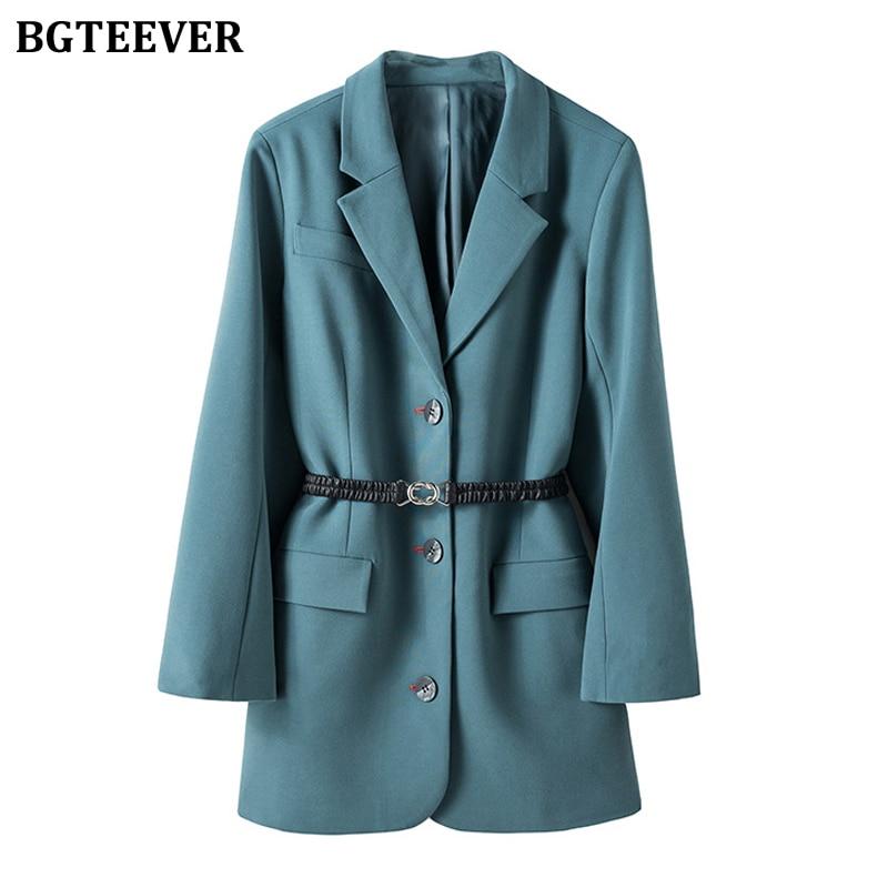BGTEEVER Elegant Loose Women Blazer Sashes Single-breasted Female Suit Jacket 2020 Spring Notched Collar Outerwear Blaser Femme