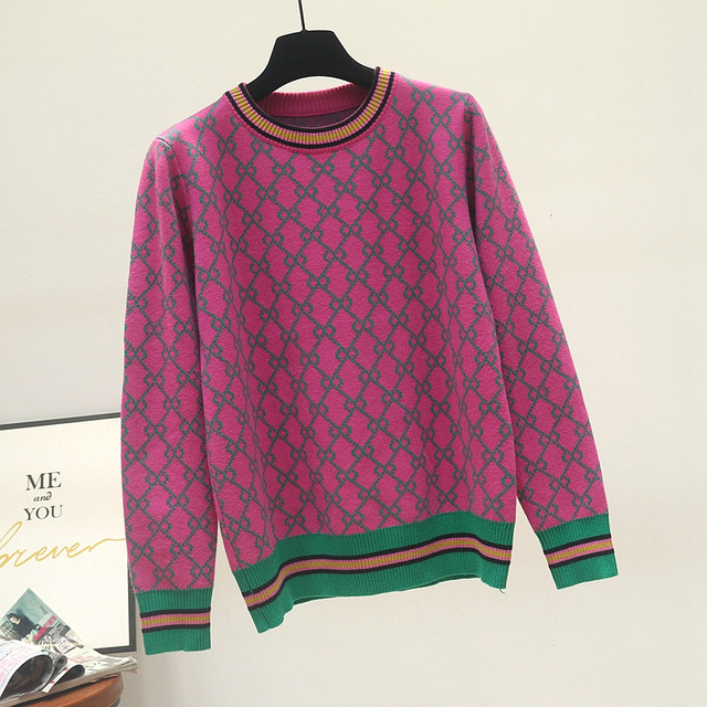 Autumn And Winter New Loose Knit Sweater Korean Style Pullover Round Neck Geometric Clash Jacquard Casual Sweater Jumper 6