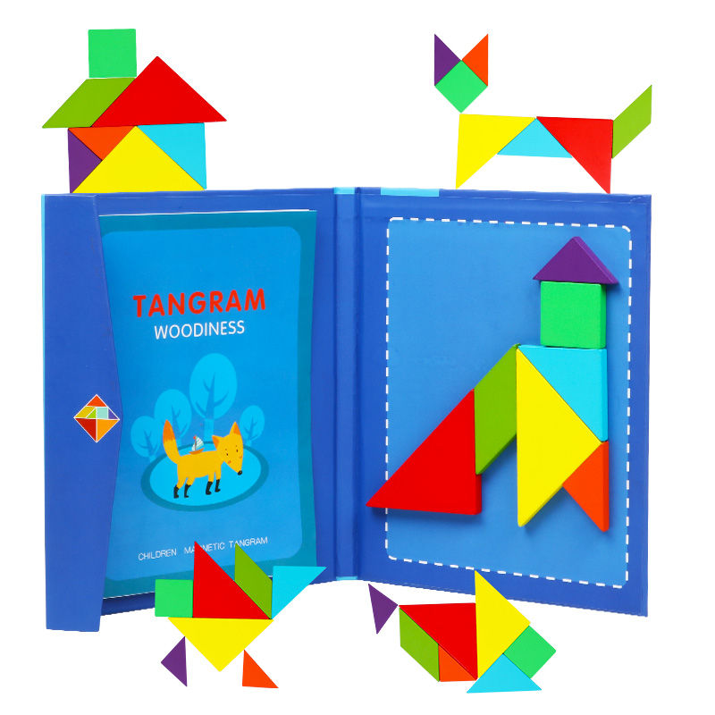 2-4 Years Old Children's Magnetic Jigsaw Puzzle Book Wooden Toys Shapes Board Kids Early Educational Toys Development Puzzle Creative Magnetic Jigsaw Gift Boys Girls